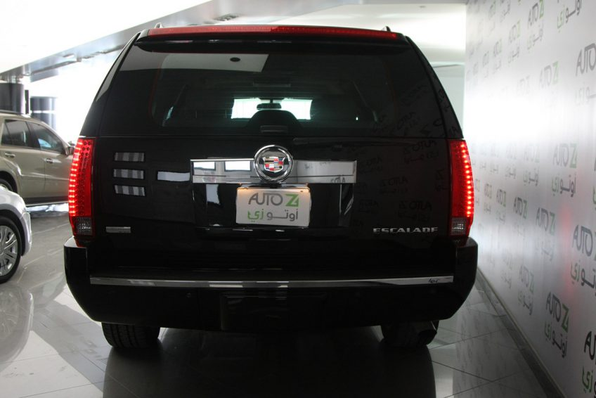 Black Cadillac Escalade ESV from the back