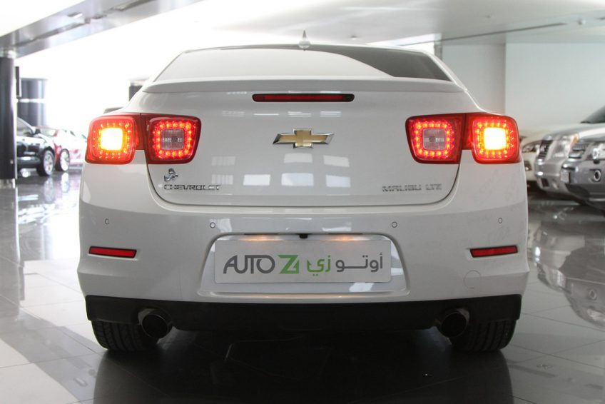 White Chevrolet Malibu LTZ 2015 from the back
