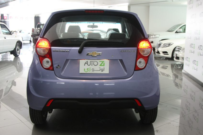 Blue Chevrolet Spark 2015 from the back