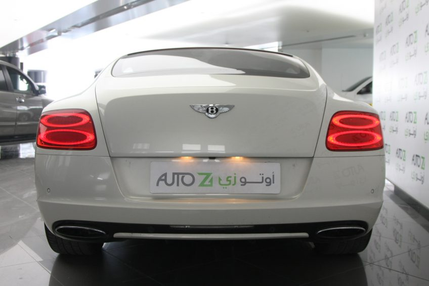 White Bentley GT Speed V12 from the back