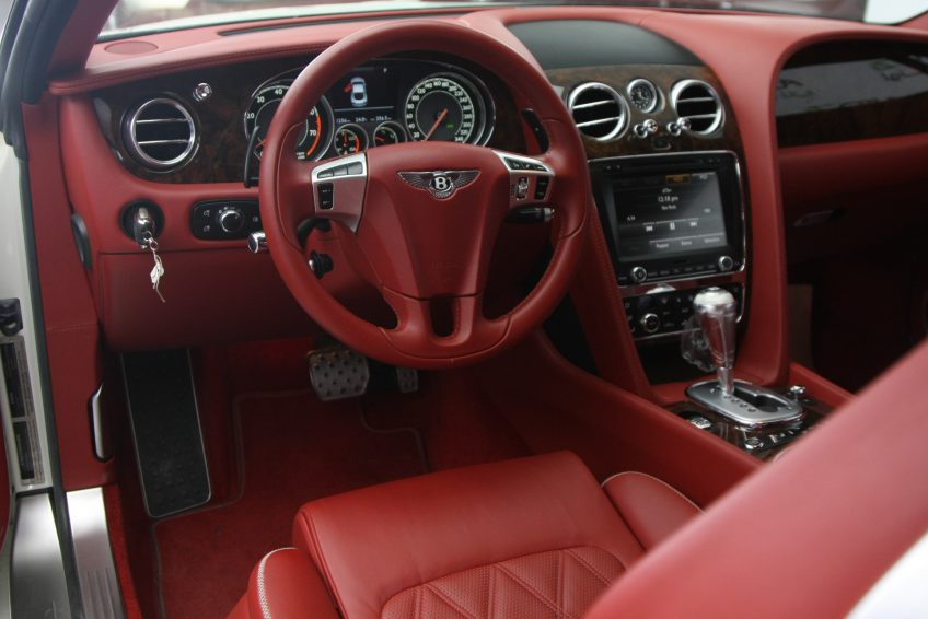 White Bentley GT Speed V12 dashboard
