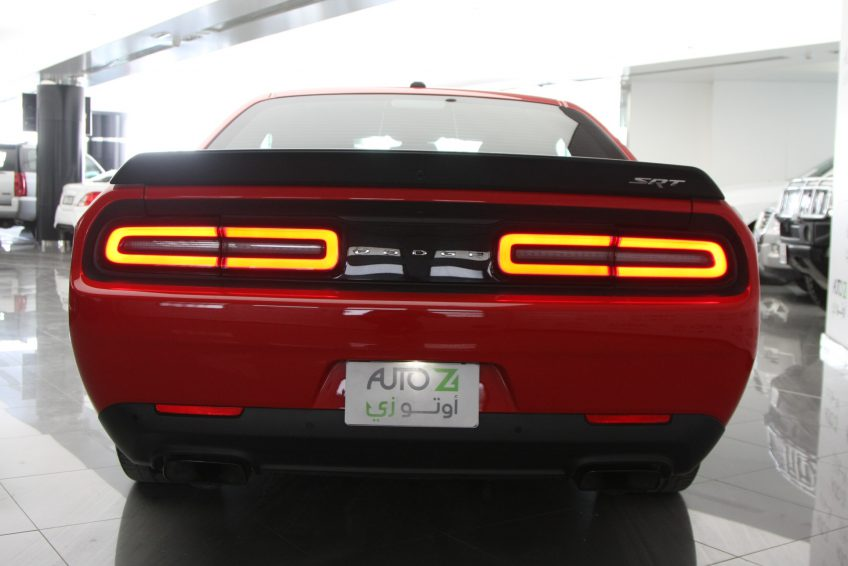 Red Dodge Challenger SRT Hellcat from the back