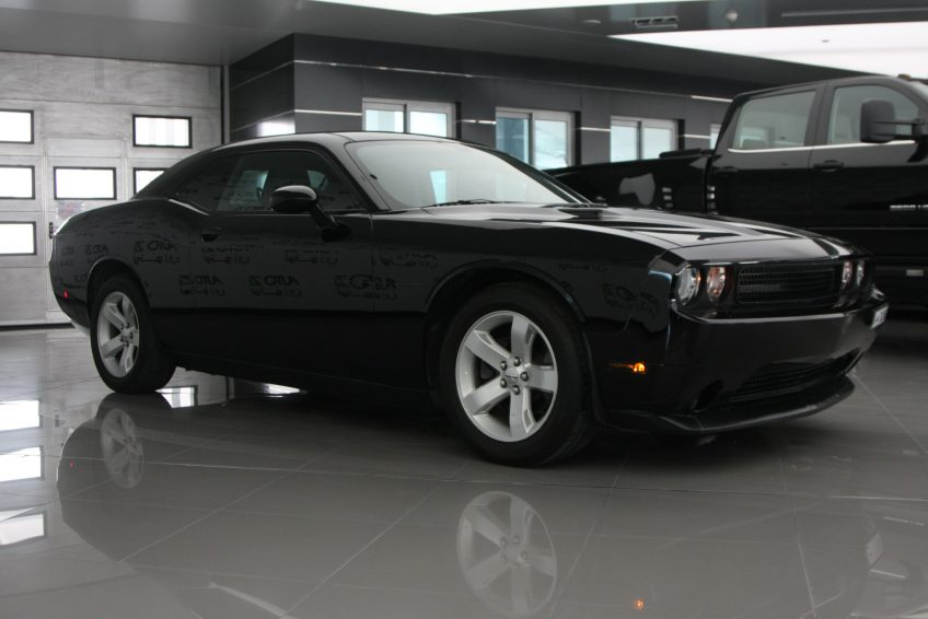 Black Dodge Challenger V6 at autoz Qatar