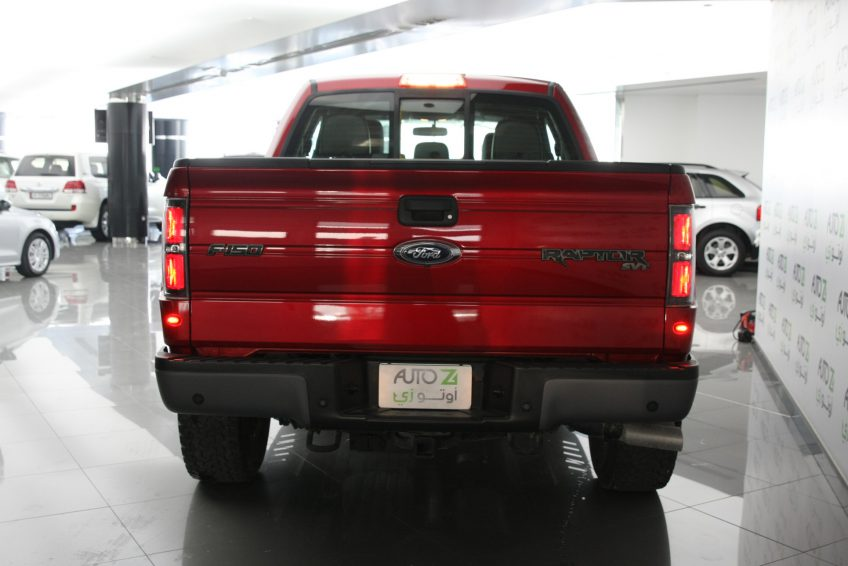 New Red Ford Raptor V8 from the back