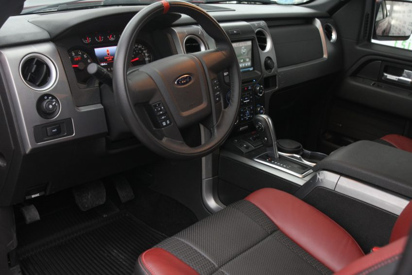 New Red Ford Raptor V8 dashboard