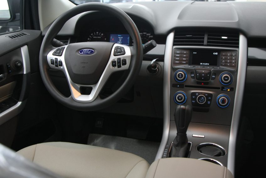 New Grey Ford Edge dashboard