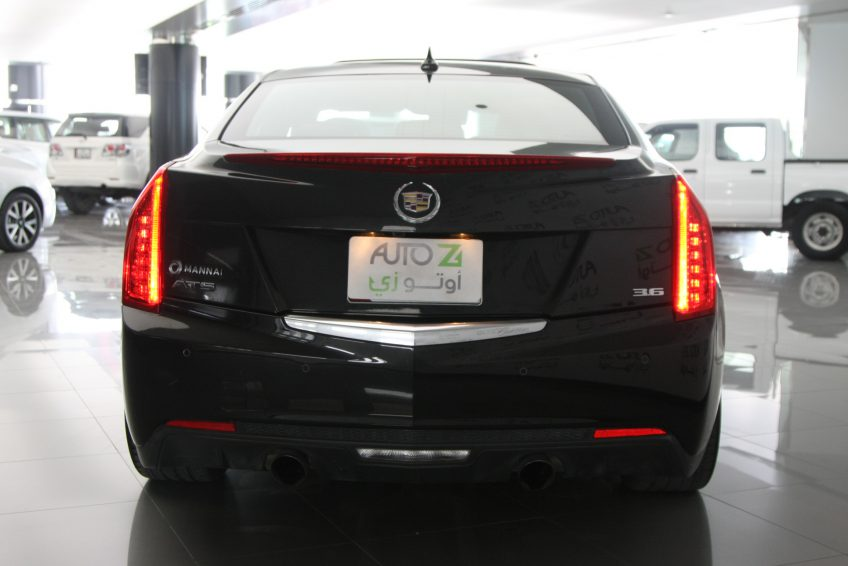 Black V6 Cadillac ATS from the back