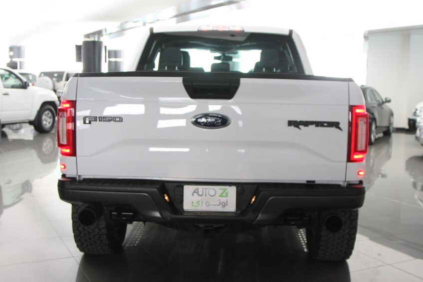 White Ford Raptor V6 from the back