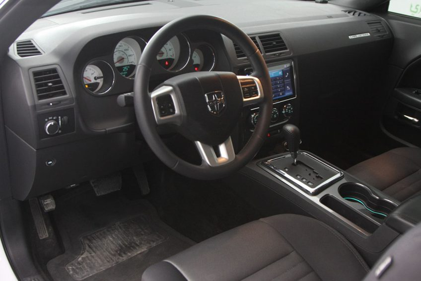 White Dodge Challenger V6 dashboard